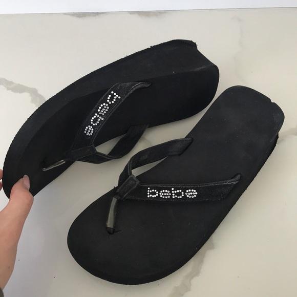 buy good diversified latest designs select for genuine Bebe platform flip flops used. Size 8. Black